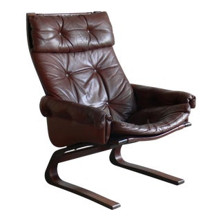 Ingmar Relling for Westnofa Siesta Brown Tufted Leather Lounge Chair