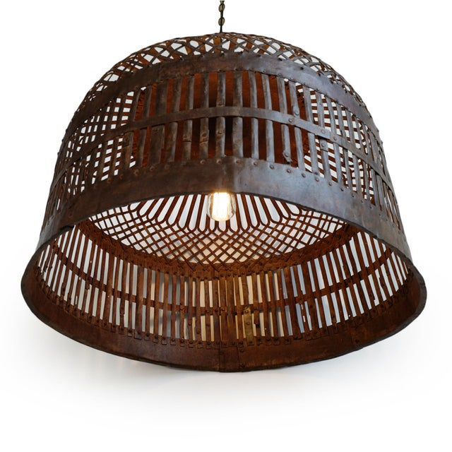 Farmhouse Industrial Iron Basket Cage Lantern For Sale - Image 3 of 6