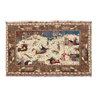 Traditional Qum Hunting Rug For Sale