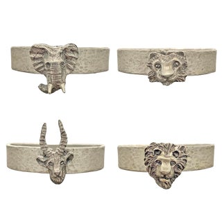 1970s Four Vintage Pewter Safari Themed Napkin Rings - Set of 4 For Sale