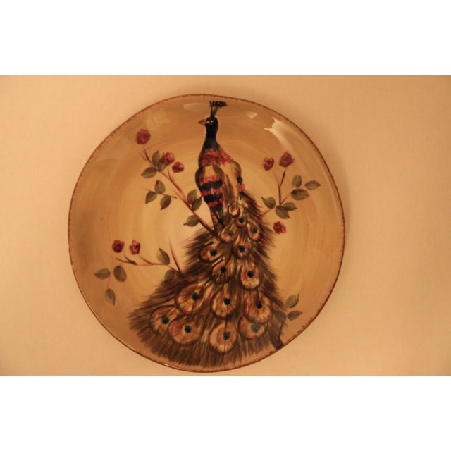 Contemporary Hand Painted & Hand Crafted Peacock Plates - A Pair For Sale - Image 3 of 5