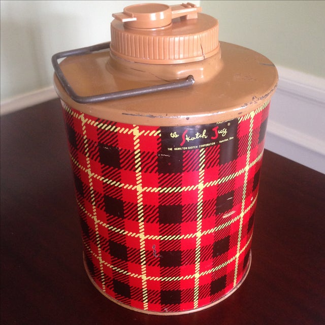Vintage Plaid Metal Cooler Thermos - Image 5 of 11