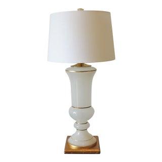 White & Gold Leaf Regency Glass Table Lamp For Sale