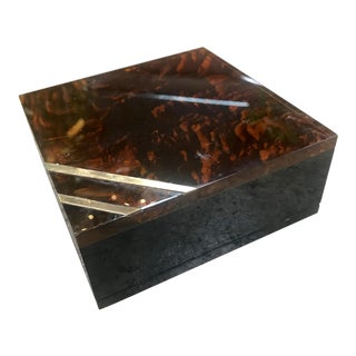1940s Vintage Italian Mid-Century Square Box in Lucite and Brass For Sale