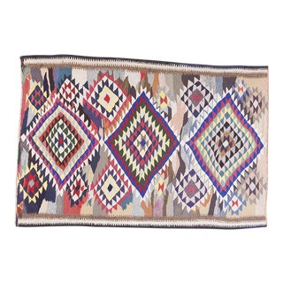 1990s Persian Blue and Pink Fabric Kilim Rug
