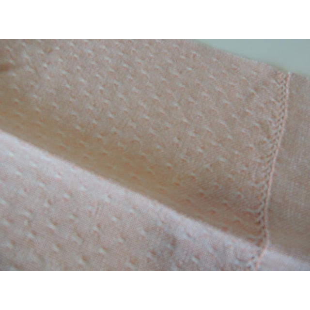 Vintage Pink and White Woven Bathroom Guest Towel For Sale - Image 4 of 5