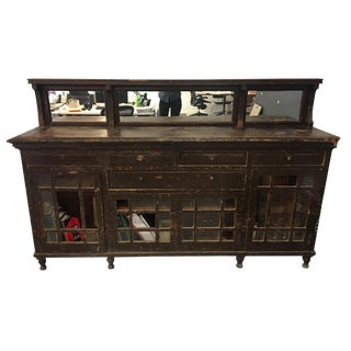 Antique Rustic Mirrored Armoire For Sale