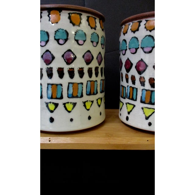 Late 20th Century Hand Painted Italian Ceramic Canisters - Set of 4 For Sale - Image 5 of 11