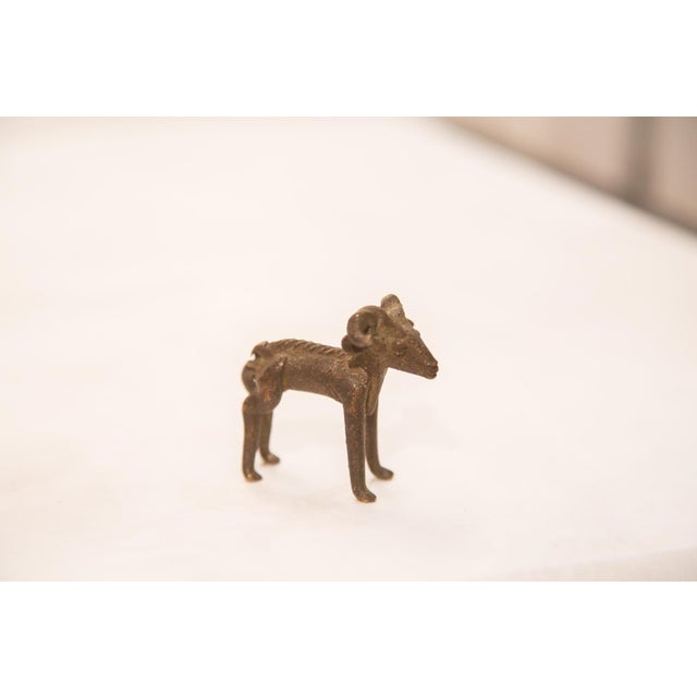 Bronze Vintage Dark Ram Curled Horn Bronze Gold Weight For Sale - Image 7 of 7