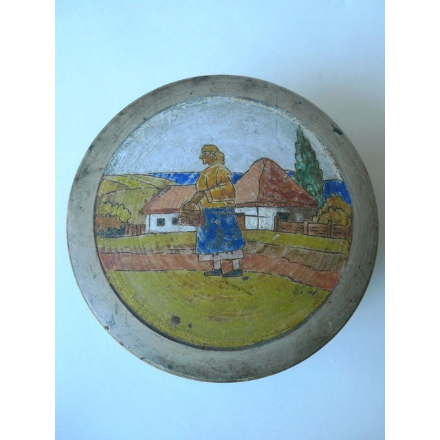 Sugar Container With Painted Pastoral Scene - Image 3 of 4