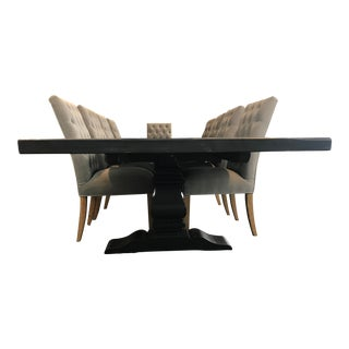Restoration Hardware Table & Bennett Roll-Back Light Wood & Velvet Fog Dining Chairs For Sale