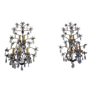 19th Century Bronze and Crystal Sconces - a Pair For Sale