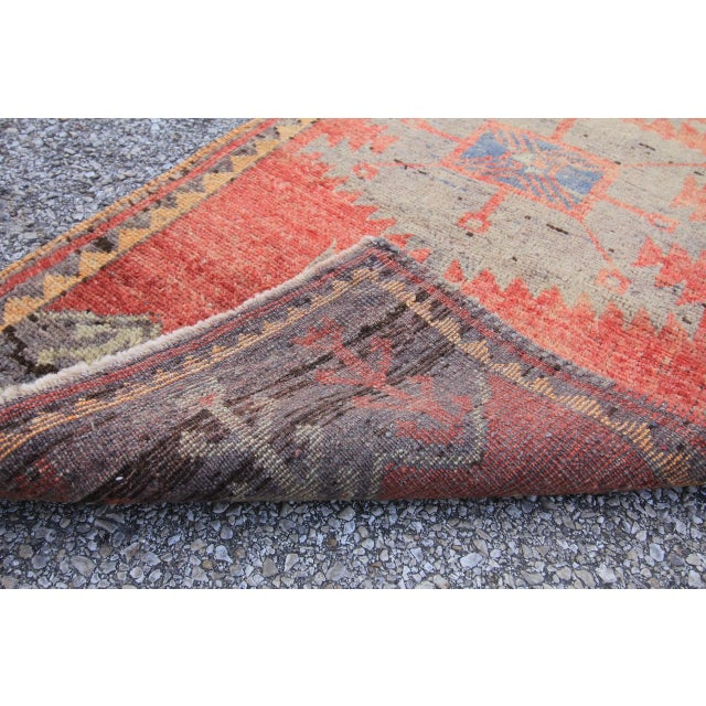 Mid-20th C. Vintage Antique Tribal Oushak Hand Knotted Turkish Rug - 1'8 X 3'5 - Image 5 of 5