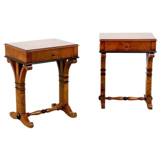 Pair of Biedermeier Burl and Ebonized End Tables or Nightstands For Sale