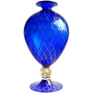 Nason Murano Sapphire Blue Gold Flecks Diamond Design Italian Art Glass Vase For Sale