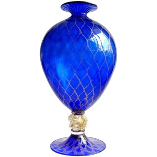 V. Nason Murano Sapphire Blue Gold Flecks Diamond Design Italian Art Glass Vase For Sale