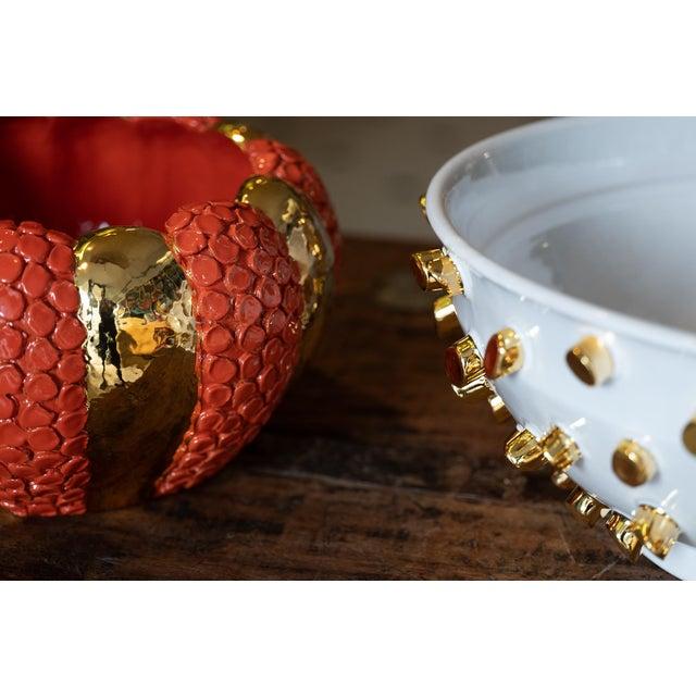Ceramic Cream Round Ceramic Vase with 24 Karat Gold Details, ND Dolfi For Sale - Image 7 of 10