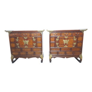 Vintage Korean Elm Tansu Chests / Nightstands - a Pair For Sale