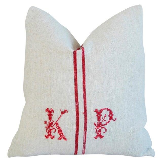 French Grain Sack Monogram Pillow - Image 1 of 7