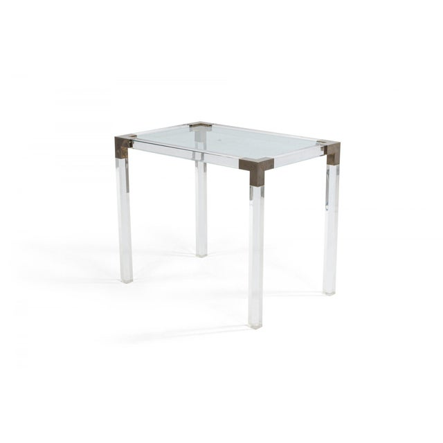 Mid-Century Modern 1950s French Mid-Century Lucite & Metal Nesting Tables - Set of 3 For Sale - Image 3 of 5
