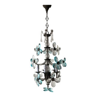 French Maison Bagues Style Aqua Blue Clear Crystal Prism Flowers Chandelier 1900 For Sale