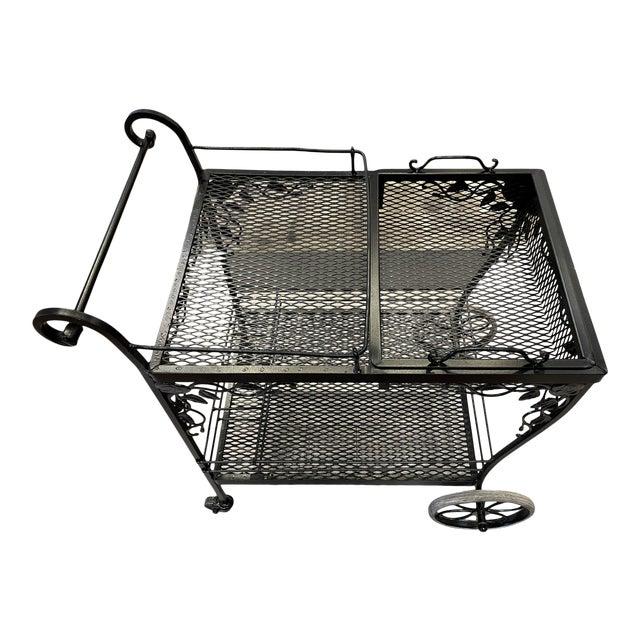 Monochrome Black Floral Accent Bar Cart For Sale