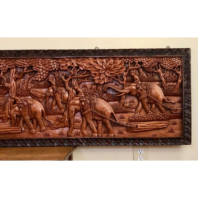 Large Vintage Wall Sculpture 3d Hand Carved Relief Teak Panel For Sale - Image 6 of 13