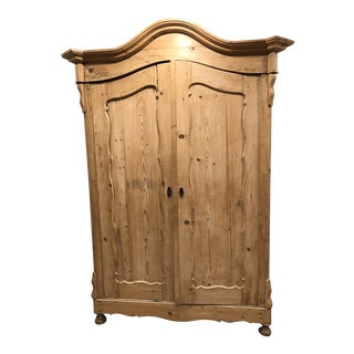 19th Century Biedermeier Pine Armoire For Sale