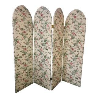 1990s Vintage Boho Chic Upholstered Four Panel Folding Screen Divider For Sale