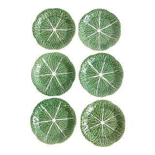 Set of 6 Green & White Cabbage Plates