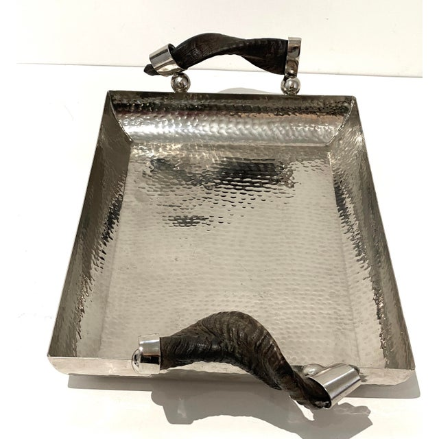 Vintage Serving Tray Hammered Steel With Horn Handles For Sale - Image 4 of 11