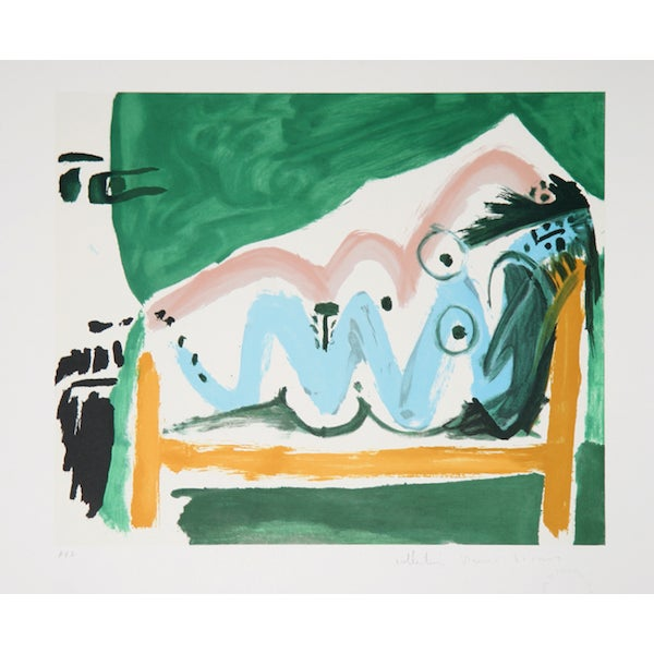 "Picasso, ""Ne Allongee Et Tete D'Homme,"" Lithograph For Sale"