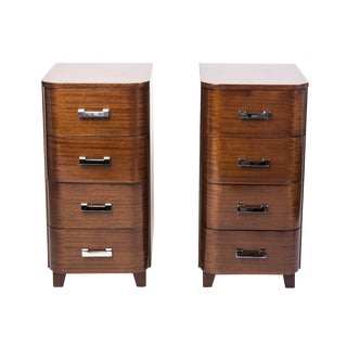 Art Deco Solid Mahogany Nightstands - A Pair For Sale