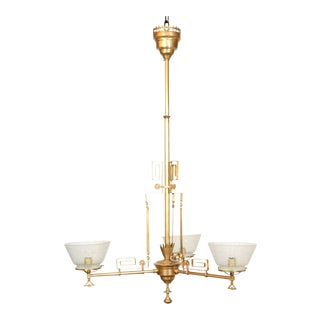 Three Light Rose Gold Aesthetic Gas Chandelier For Sale