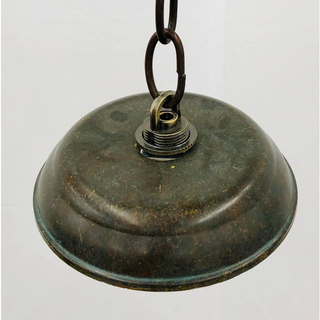 Traditional Green Glass Bell Jar Pendant For Sale - Image 12 of 13