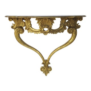 Vintage Italian Wall Mounted Console Table with Shell Motif For Sale