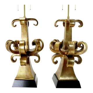 Rare Pair of Gold Italian Zanuso Lamps For Sale