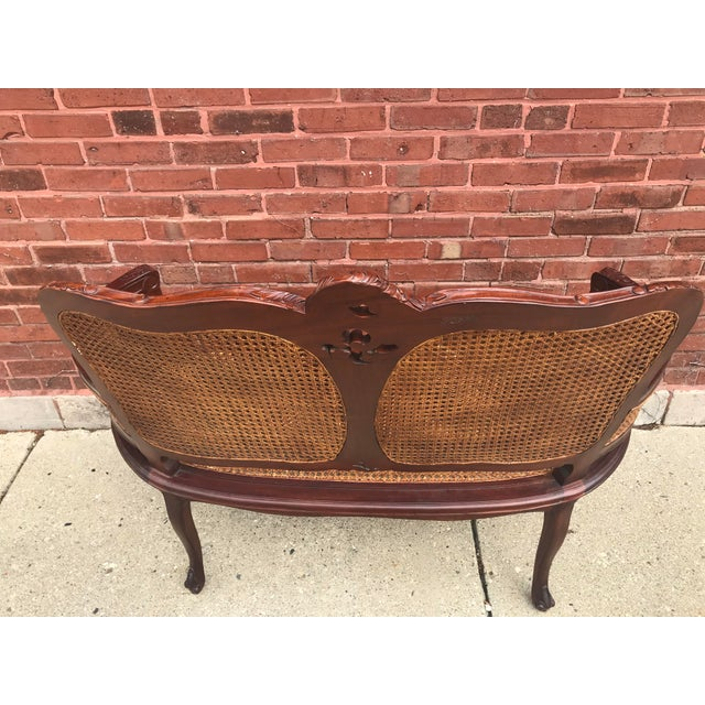 Vintage Italian Curved Caned Loveseat For Sale In Chicago - Image 6 of 10