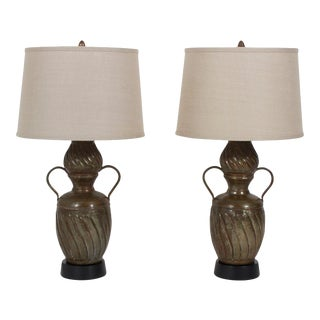 Custom Made Copper Table Lamps - A Pair For Sale