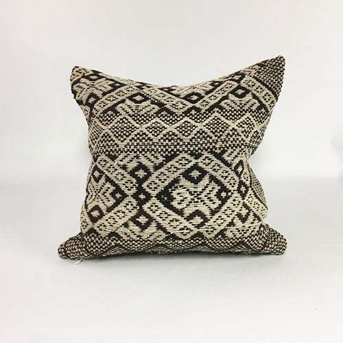 Handwoven Brown Boho Wool Pillow For Sale - Image 4 of 4
