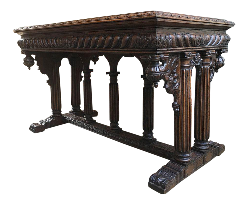 Antique French Renaissance Gothic Victorian Carved Oak Marble Top Hall Table