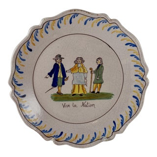 18th C. French Revolution Tin-Glazed Dish, Vive La Nation