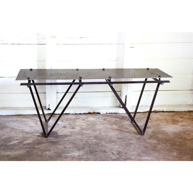 Artisan Made Perforated Metal Modernist Coffee Table Bed Entry Bench Tv Media Stand For Sale - Image 4 of 10
