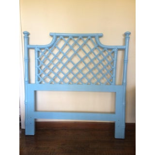 Vintage Hollywood Regency Painted Faux Bamboo Twin Headboard Preview