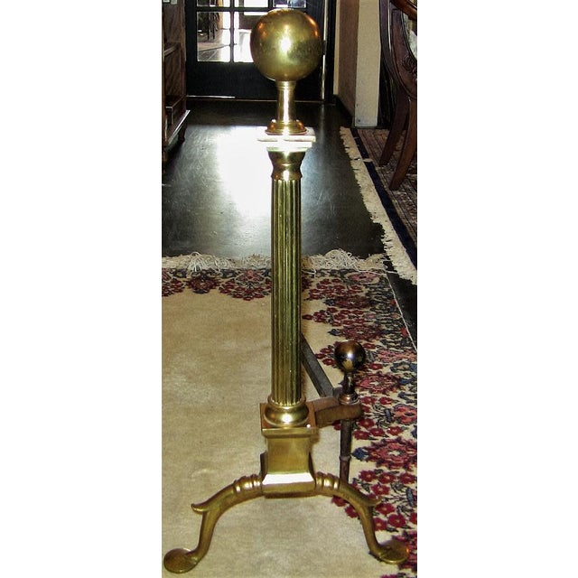 Brass 19c Philadelphia Brass Andirons With Roman Columns and Ball Finials- a Pair For Sale - Image 8 of 9