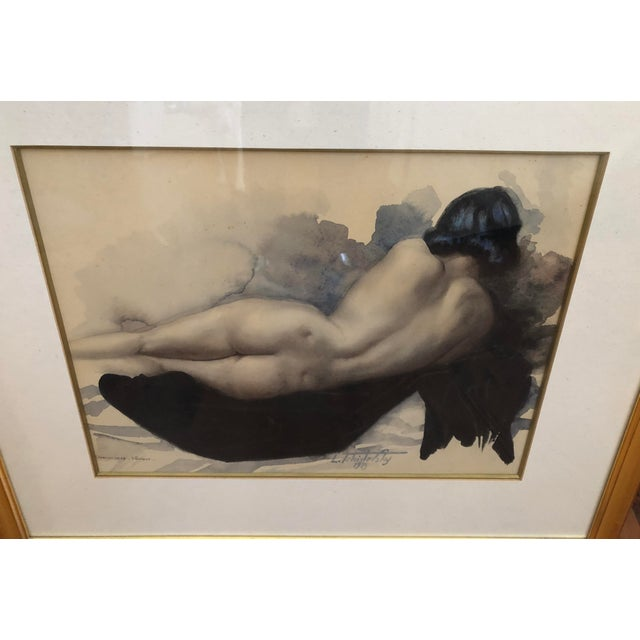 1939 Vintage Original Lev Tchistovsky Reclining Nude Watercolor Painting For Sale - Image 4 of 8