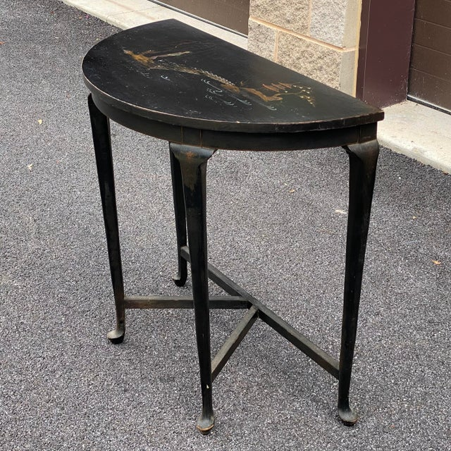 Chinoiserie Antique Chinoiserie Demilune Accent Table For Sale - Image 3 of 13
