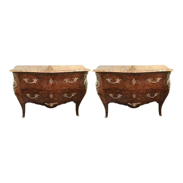 Pair of Louis XV Style Bombe Bronze Mounted Commodes, Nightstands or Chests For Sale
