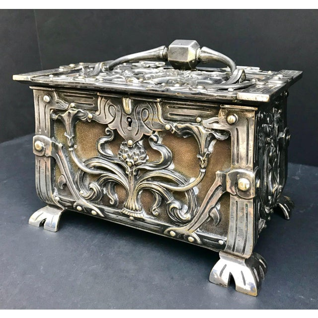 Animal Skin 20th Century Art Nouveau Silvered Heavy Bronze Jewelry Box Casket For Sale - Image 7 of 13