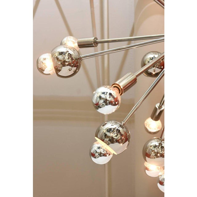 Silver Nickel Silver 24 Bulb Sputnik Vintage Chandelier For Sale - Image 8 of 10